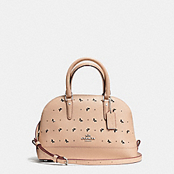 COACH MINI SIERRA SATCHEL IN PERFORATED CROSSGRAIN LEATHER - SILVER/BEECHWOOD - F59346