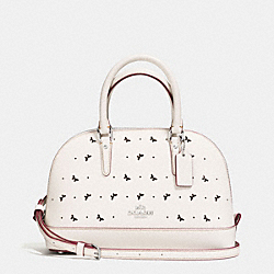 MINI SIERRA SATCHEL IN PERFORATED CROSSGRAIN LEATHER - f59346 - SILVER/CHALK