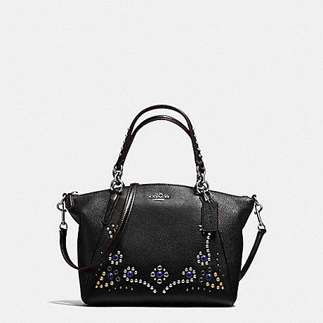 COACH SMALL KELSEY SATCHEL IN PEBBLE LEATHER WITH STUDDED BORDER EMBELLISHMENT - SILVER/BLACK - f59348