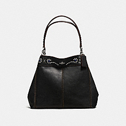 LEXY SHOULDER BAG IN PEBBLE LEATHER WITH BORDER STUDDED EMBELLISHMENT - f59349 - SILVER/BLACK