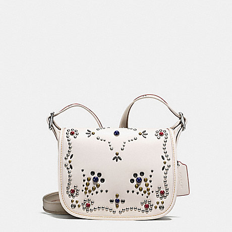 COACH PATRICIA SADDLE BAG 23 IN NATURAL REFINED LEATHER WITH ALL OVER STUDDED EMBELLISHMENT - SILVER/CHALK - f59351