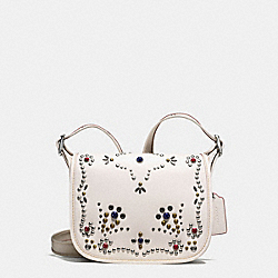 PATRICIA SADDLE BAG 23 IN NATURAL REFINED LEATHER WITH ALL OVER STUDDED EMBELLISHMENT - f59351 - SILVER/CHALK