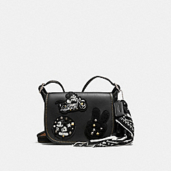 COACH PATRICIA SADDLE 18 IN GLOVE CALF LEATHER WITH MICKEY PATCHES - ANTIQUE NICKEL/BLACK MULTI - F59355