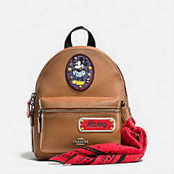 COACH MINI CHARLIE BACKPACK IN GLOVE CALF LEATHER WITH MICKEY PATCHES - QB/Saddle Multi - F59356