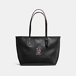 CITY ZIP TOTE IN GLOVE CALF LEATHER WITH MICKEY - f59357 - ANTIQUE NICKEL/BLACK