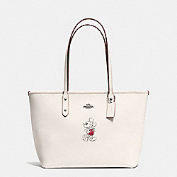 COACH CITY ZIP TOTE IN GLOVE CALF LEATHER WITH MICKEY - BLACK ANTIQUE NICKEL/CHALK - F59357