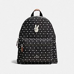 COACH CHARLIE BACKPACK IN BANDANA PRINT WITH MICKEY - BLACK ANTIQUE NICKEL/BLACK - F59358