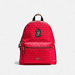 COACH CHARLIE BACKPACK IN BANDANA PRINT WITH MICKEY - QB/Bright Red Black - F59358