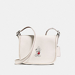 COACH PATRICIA SADDLE 23 IN GLOVE CALF LEATHER WITH MICKEY - BLACK ANTIQUE NICKEL/CHALK - F59359