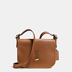 COACH PATRICIA SADDLE 23 IN GLOVE CALF LEATHER WITH MICKEY - ANTIQUE NICKEL/SADDLE - F59359
