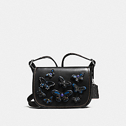 PATRICIA SADDLE BAG 18 IN NATURAL LEATHER WITH ALL OVER BUTTERFLY APPLIQUE - f59360 - SILVER/BLACK
