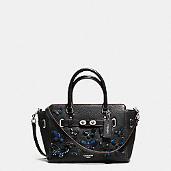 COACH F59361 - BLAKE CARRYALL 25 IN PEBBLE LEATHER WITH ALL OVER BUTTERFLY APPLIQUE SILVER/BLACK