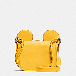 COACH PATRICIA SADDLE IN GLOVE CALF LEATHER WITH MICKEY EARS - BLACK ANTIQUE NICKEL/BANANA - F59369