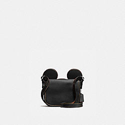 COACH PATRICIA SADDLE IN GLOVE CALF LEATHER WITH MICKEY EARS - ANTIQUE NICKEL/BLACK - F59369