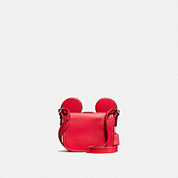 COACH PATRICIA SADDLE IN GLOVE CALF LEATHER WITH MICKEY EARS - BLACK ANTIQUE NICKEL/BRIGHT RED - F59369