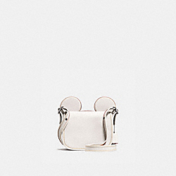 COACH PATRICIA SADDLE IN GLOVE CALF LEATHER WITH MICKEY EARS - BLACK ANTIQUE NICKEL/CHALK - F59369