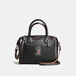 COACH MINI BENNETT SATCHEL IN GLOVE CALF LEATHER WITH MICKEY - ANTIQUE NICKEL/BLACK - F59371