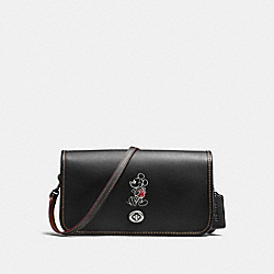 PENNY CROSSBODY IN GLOVE CALF LEATHER WITH MICKEY - f59374 - ANTIQUE NICKEL/BLACK
