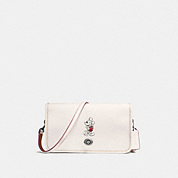 PENNY CROSSBODY IN GLOVE CALF LEATHER WITH MICKEY - f59374 - BLACK ANTIQUE NICKEL/CHALK
