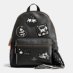 CHARLIE BACKPACK IN GLOVE CALF LEATHER WITH MICKEY - f59375 - ANTIQUE NICKEL/BLACK MULTI