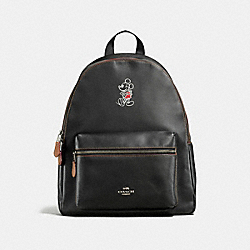 CHARLIE BACKPACK IN GLOVE CALF LEATHER WITH MICKEY - f59378 - ANTIQUE NICKEL/BLACK