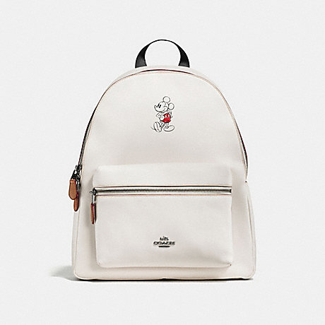 COACH f59378 CHARLIE BACKPACK IN GLOVE CALF LEATHER WITH MICKEY BLACK ANTIQUE NICKEL/CHALK