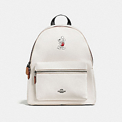 COACH CHARLIE BACKPACK IN GLOVE CALF LEATHER WITH MICKEY - BLACK ANTIQUE NICKEL/CHALK - F59378