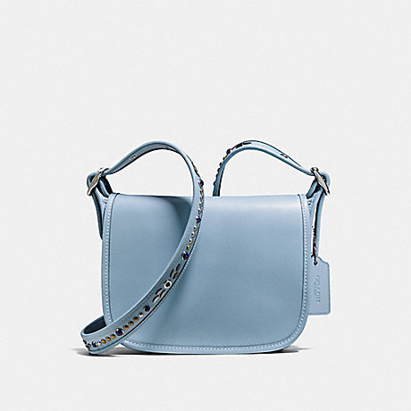 COACH f59380 PATRICIA SADDLE BAG 23 IN NATURAL REFINED LEATHER WITH STUDDED STRAP SILVER/CORNFLOWER
