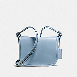 COACH PATRICIA SADDLE BAG 23 IN NATURAL REFINED LEATHER WITH STUDDED STRAP - SILVER/CORNFLOWER - F59380