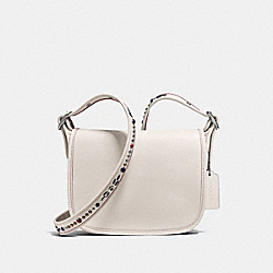 PATRICIA SADDLE BAG 23 IN NATURAL REFINED LEATHER WITH STUDDED STRAP - f59380 - SILVER/CHALK