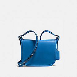 COACH PATRICIA SADDLE BAG 23 IN NATURAL REFINED LEATHER WITH STUDDED STRAP - SILVER/LAPIS - F59380