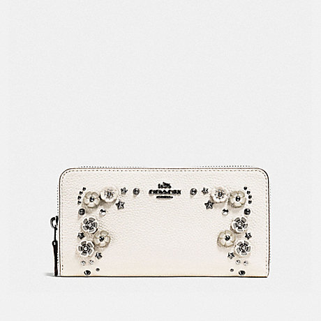 COACH ACCORDION ZIP WALLET WITH TEA ROSE DETAIL - CHALK/DARK GUNMETAL - f59387