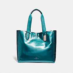 COACH LARGE DERBY TOTE - BLACK ANTIQUE NICKEL/METALLIC DARK TEAL - F59388