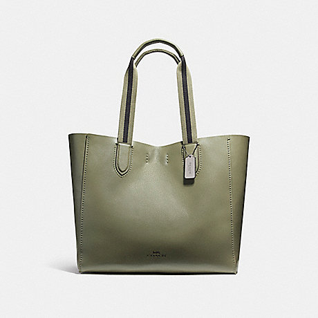 COACH f59392 LARGE DERBY TOTE IN PEBBLE LEATHER WITH FLORAL PRINTED INTERIOR BLACK ANTIQUE NICKEL/MILITARY GREEN
