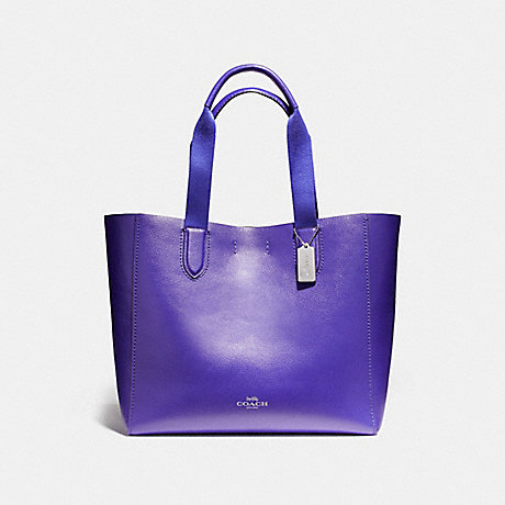 COACH f59392 LARGE DERBY TOTE IN PEBBLE LEATHER WITH FLORAL PRINTED INTERIOR SILVER/PURPLE