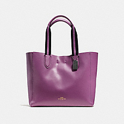 COACH LARGE DERBY TOTE IN PEBBLE LEATHER WITH STRIPE WEBBING - BLACK ANTIQUE NICKEL/MAUVE - F59399