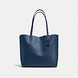 HUDSON TOTE IN NATURAL SMOOTH LEATHER - f59403 - ANTIQUE NICKEL/MIDNIGHT