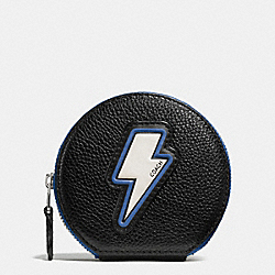 COACH COIN CASE IN PEBBLE LEATHER WITH LIGHTNING BOLT - SILVER/MULTI - F59407