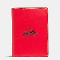 PASSPORT CASE IN GLOVE CALF LEATHER WITH MICKEY - f59411 - RED
