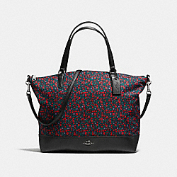 SATCHEL IN RANCH FLORAL PRINT NYLON - f59433 - BLACK ANTIQUE NICKEL/BRIGHT RED