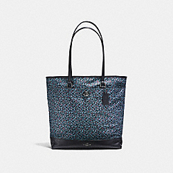 TOTE IN RANCH FLORAL PRINT NYLON - f59435 - BLACK ANTIQUE NICKEL/MIST