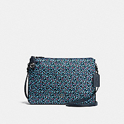 NYLON CROSSBODY IN RANCH FLORAL PRINT - f59436 - BLACK ANTIQUE NICKEL/MIST
