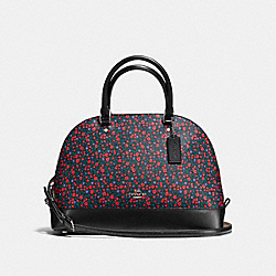 SIERRA SATCHEL IN RANCH FLORAL PRINT COATED CANVAS - f59444 - SILVER/BRIGHT RED