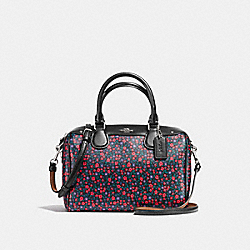 MINI BENNETT SATCHEL IN RANCH FLORAL PRINT COATED CANVAS - f59445 - SILVER/BRIGHT RED