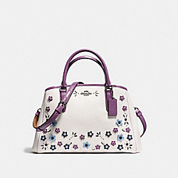 SMALL MARGOT CARRYALL IN NATURAL REFINED LEATHER WITH FLORAL APPLIQUE - f59449 - BLACK ANTIQUE NICKEL/CHALK MULTI