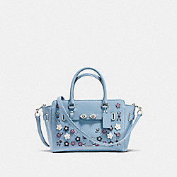 BLAKE CARRYALL 25 IN NATURAL REFINED LEATHER WITH FLORAL APPLIQUE - f59450 - SILVER/CORNFLOWER MULTI