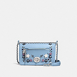 LEX SMALL FLAP CROSSBODY IN NATURAL REFINED LEATHER WITH FLORAL APPLIQUE - f59451 - SILVER/CORNFLOWER MULTI