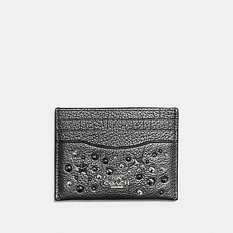 COACH CARD CASE WITH STAR RIVETS - SILVER/METALLIC GRAPHITE - f59453