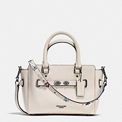 MINI BLAKE CARRYALL IN NATURAL REFINED LEATHER WITH FLORAL APPLIQUE STRAP - f59454 - BLACK ANTIQUE NICKEL/CHALK