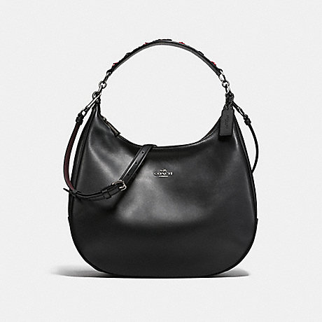COACH HARLEY HOBO IN NATURAL REFINED LEATHER WITH FLORAL APPLIQUE STRAP - ANTIQUE NICKEL/BLACK - f59455